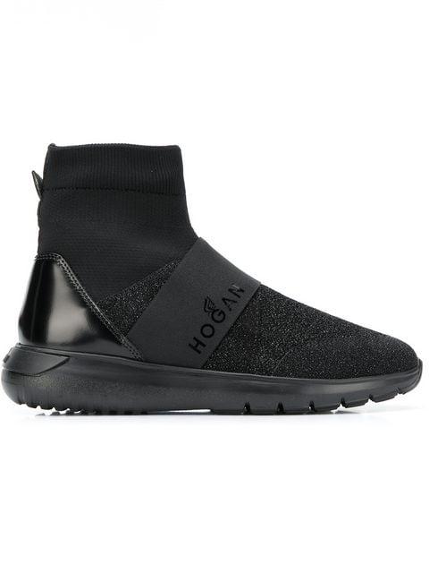 Hogan Ankle Sock Sneakers In B999 Black Glitter
