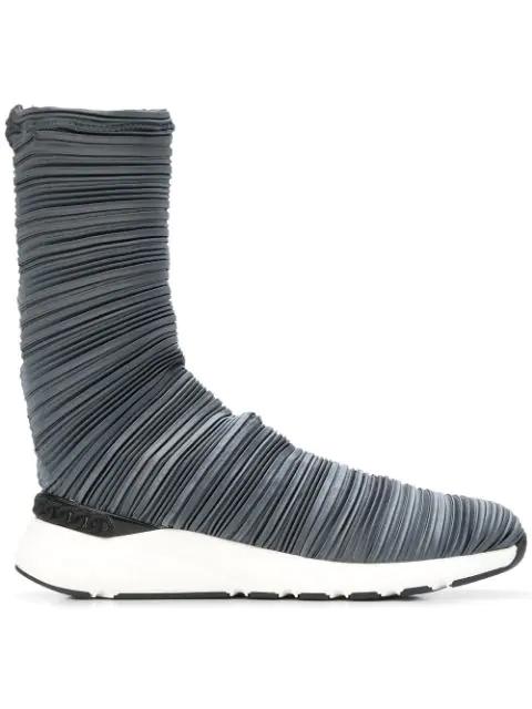Casadei Plissé Bandage Sock Boots - Black
