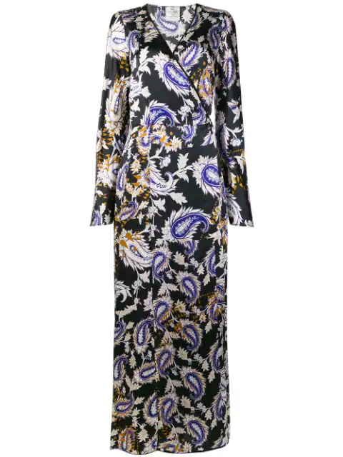 Forte Forte Printed Robe Dress In Black