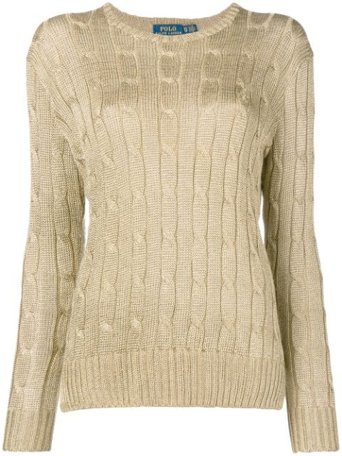 Polo Ralph Lauren Cable Knit Jumper In Metallic
