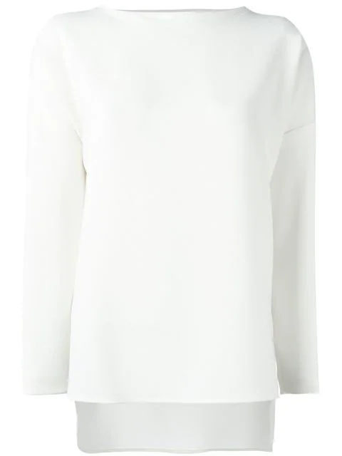 Alberto Biani Boat Neck Longsleeved Blouse In White