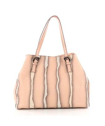 Bottega Veneta Pre-Owned: A-Shape Glimmer Tote Washed Nappa Leather With Intrecciato Detail Large In Pink