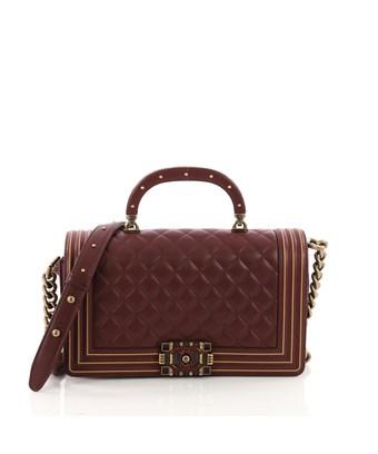 4d67bc184373 CHANEL. Pre-Owned: Studded Handle Boy Flap Bag Quilted Lambskin Old Medium  in Red