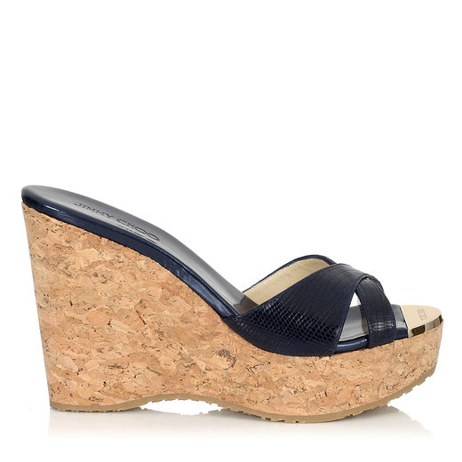 Jimmy Choo Perfume 120 Patent Leather And Cork Wedge Sandals In Navy