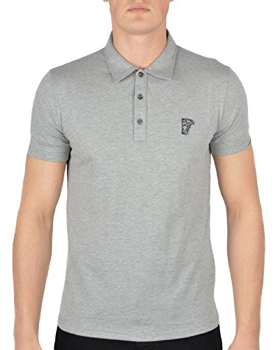 32b9d8baf Versace Collection Men's Heather Gray Medusa Cotton Polo Golf T-Shirt