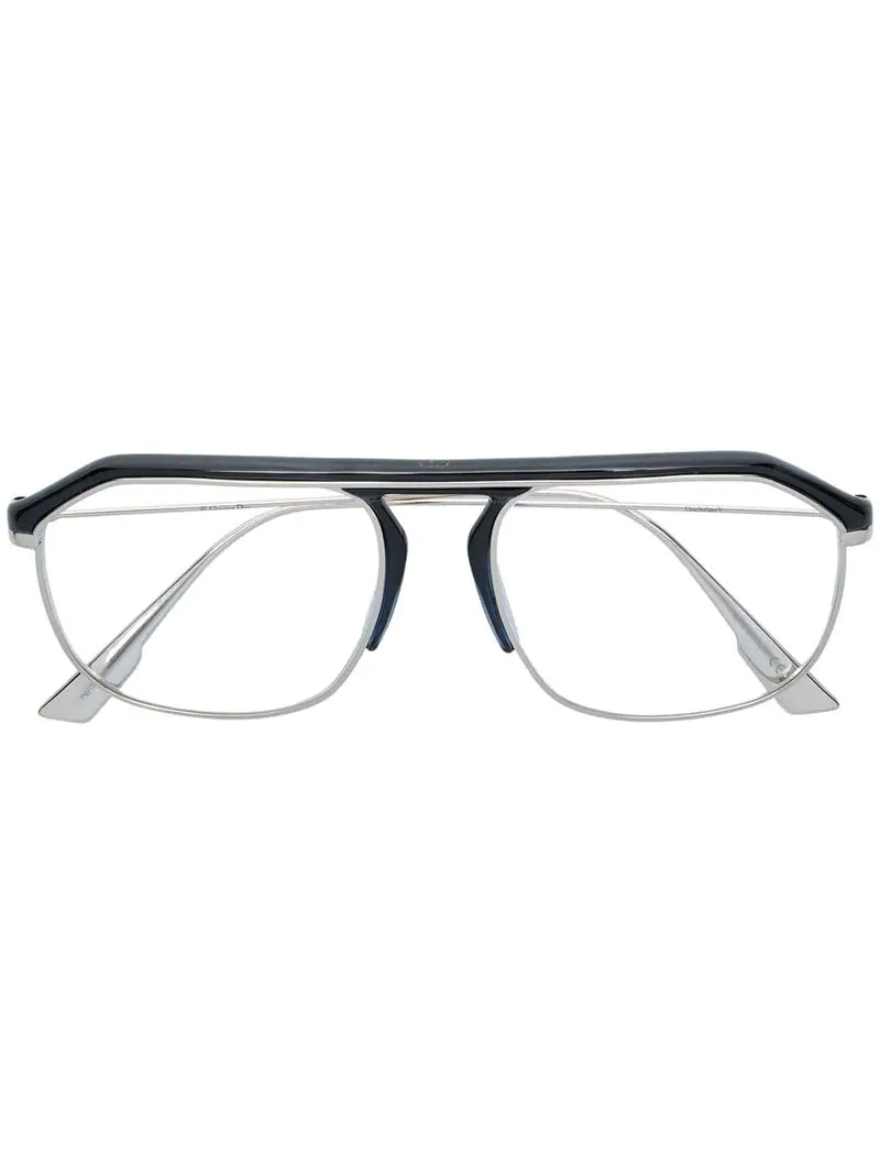 c41ebd72ce Black and silver-tone Stellaire V glasses from Dior Eyewear featuring  aviator frames and straight arms with angled tips. This item is unisex.