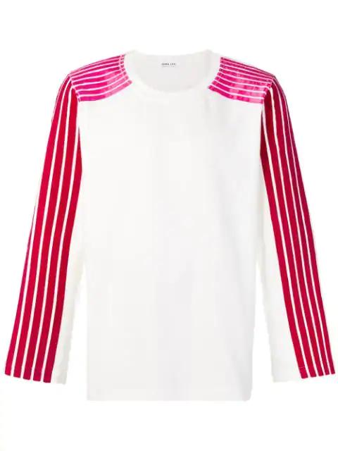 Dima Leu Striped Sleeves Sweatshirt In White