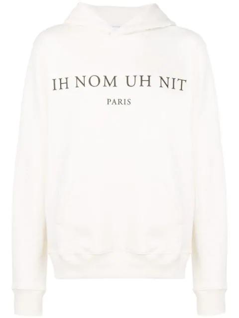 Ih Nom Uh Nit Logo Print Hoodie - White