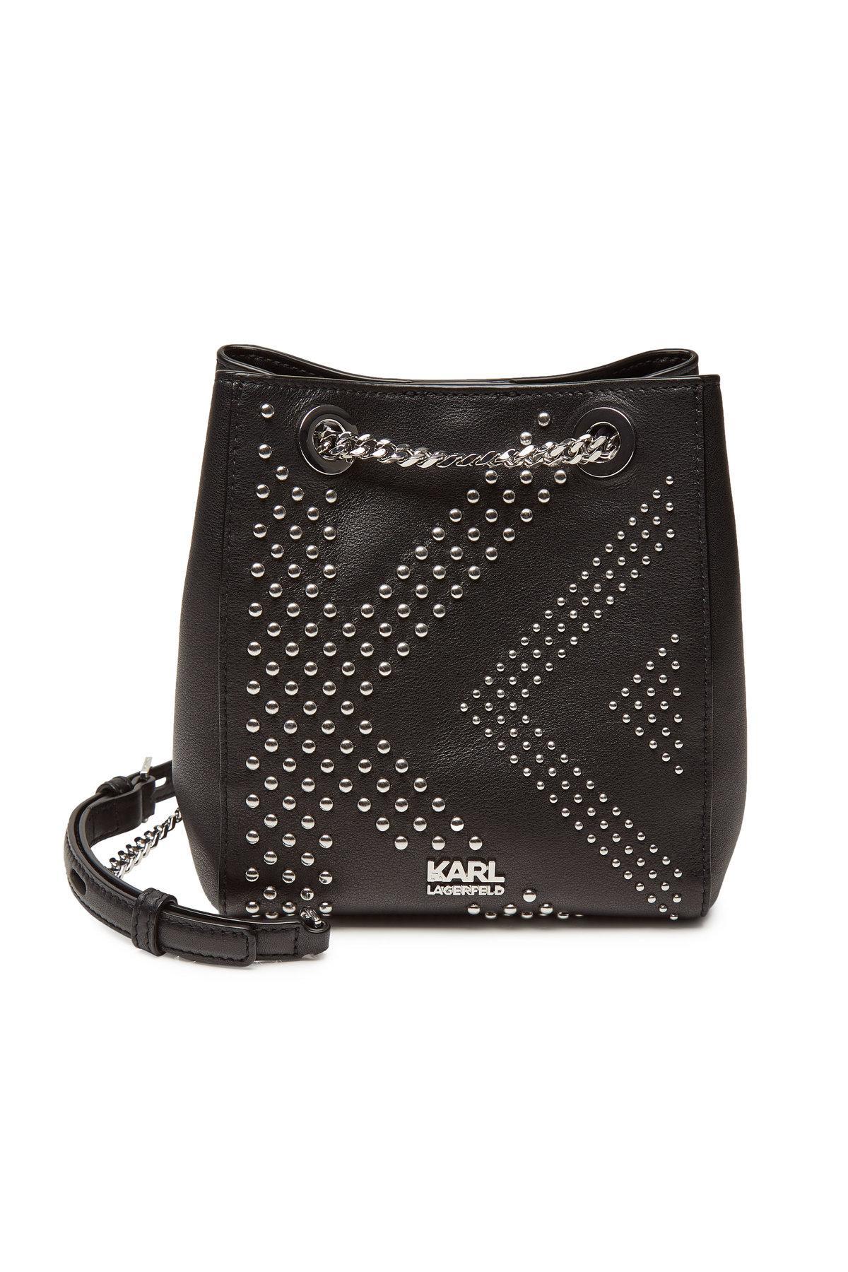 5427d285d7c Karl X Kaia Gerber Rocky Embellished Leather Bucket Bag In Black
