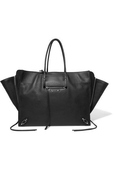 Balenciaga Papier Za A4 Textured-Leather Tote In Black