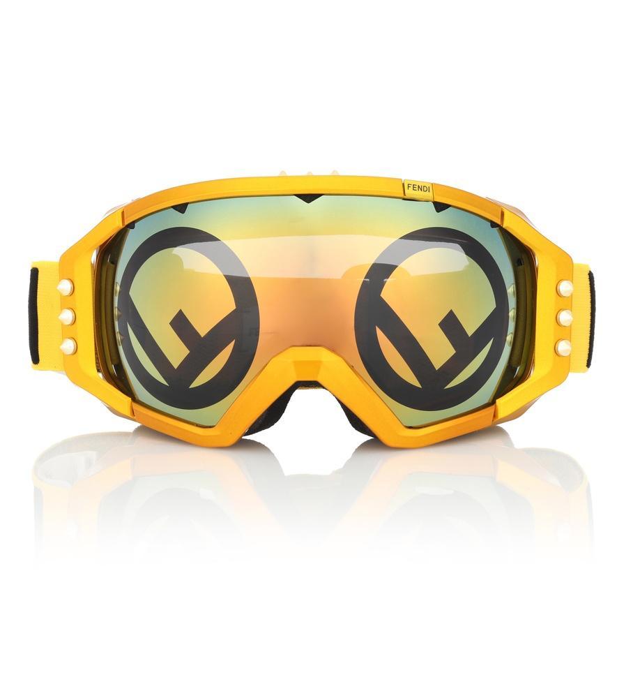 700e9e557c00 Fendi Mirrored Ski Goggles In Yellow