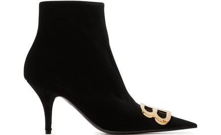 Balenciaga Knife Logo-Embellished Velvet Ankle Boots In Black