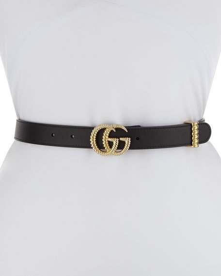3d447fa938a Gucci Moon Leather Belt W  Textured Gg Buckle