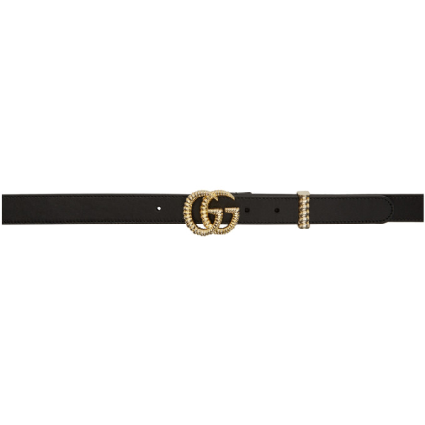 """Gucci Moon Leather Belt W/ Textured Gg Buckle, 1""""W In 1000 Black"""