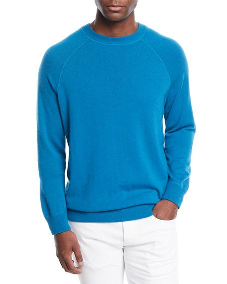Loro Piana Men's Silverstone Cashmere Raglan Sweater In Light Blue