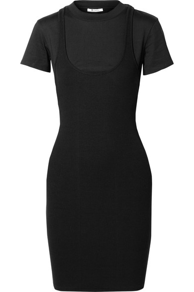 7fd9348d115 T By Alexander Wang Layered Ribbed Stretch-Jersey Mini Dress In Black. SIZE    FIT INFORMATION
