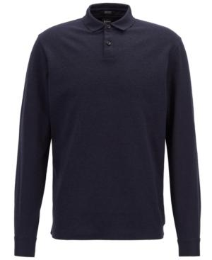 Hugo Boss Boss Men's Regular/classic-fit Long-sleeve Cotton Polo In Dark Navy