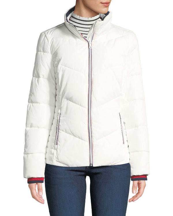 a80ea35d0 Stand-Collar Knit-Trim Puffer Jacket in White