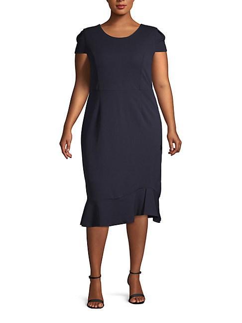 Abs By Allen Schwartz Plus Flounce Midi Dress In Navy Blue
