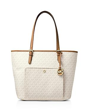 Michael Michael Kors Jet Set Large Snap Pocket Tote In Vanilla/Gold