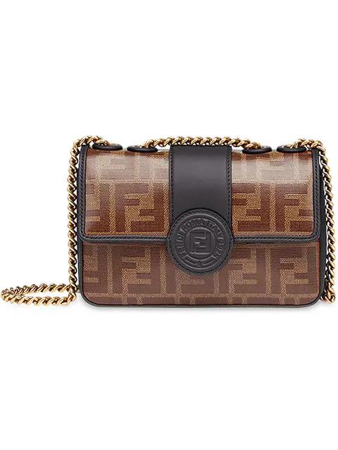 c0c4fdc0fc9 Fendi Brown Double F Logo Print Leather Cross Body Bag - Farfetch ...