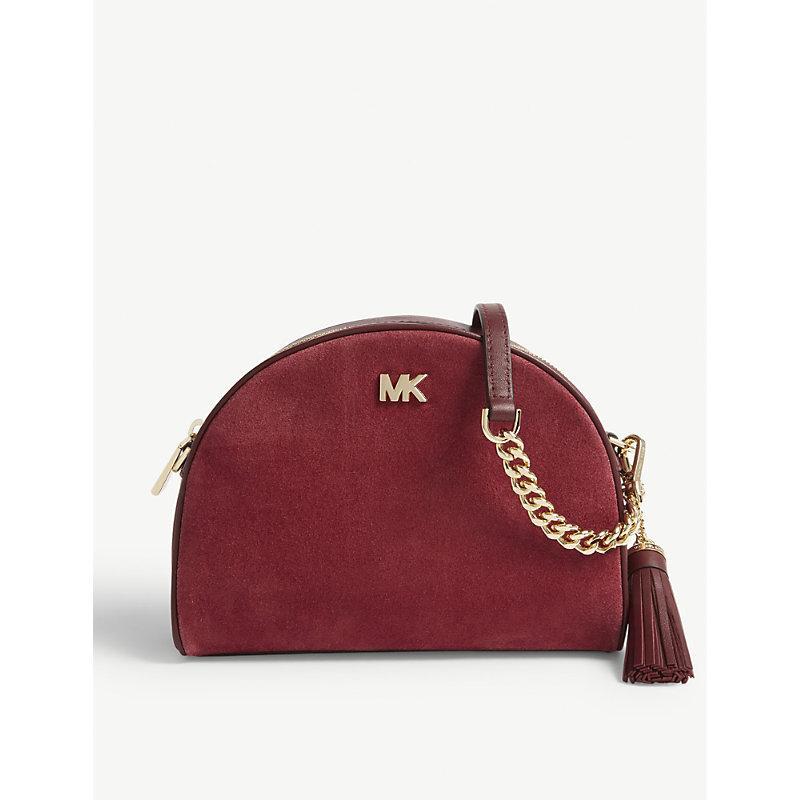 836b1777c21c Michael Michael Kors Ginny Suede Half Moon Cross-Body Bag In Maroon Oxbld