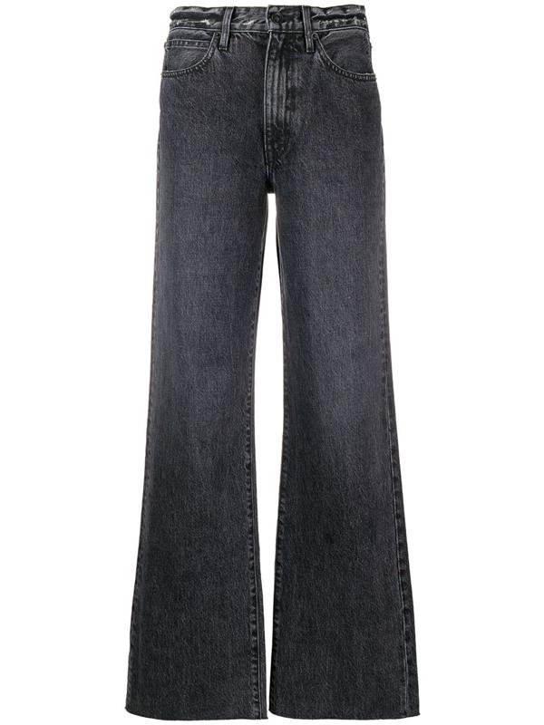 Slvrlake Grace Ripped Straight-leg High-rise Jeans In Dark Denim