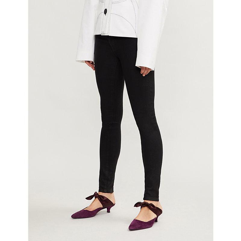 9b044e4c46f Hudson Nico Super-Skinny Mid-Rise Jeans In Black Coated | ModeSens