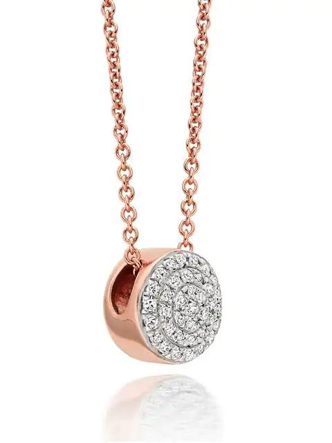 Monica Vinader Ava Diamond Button Pendant Necklace In Metallic