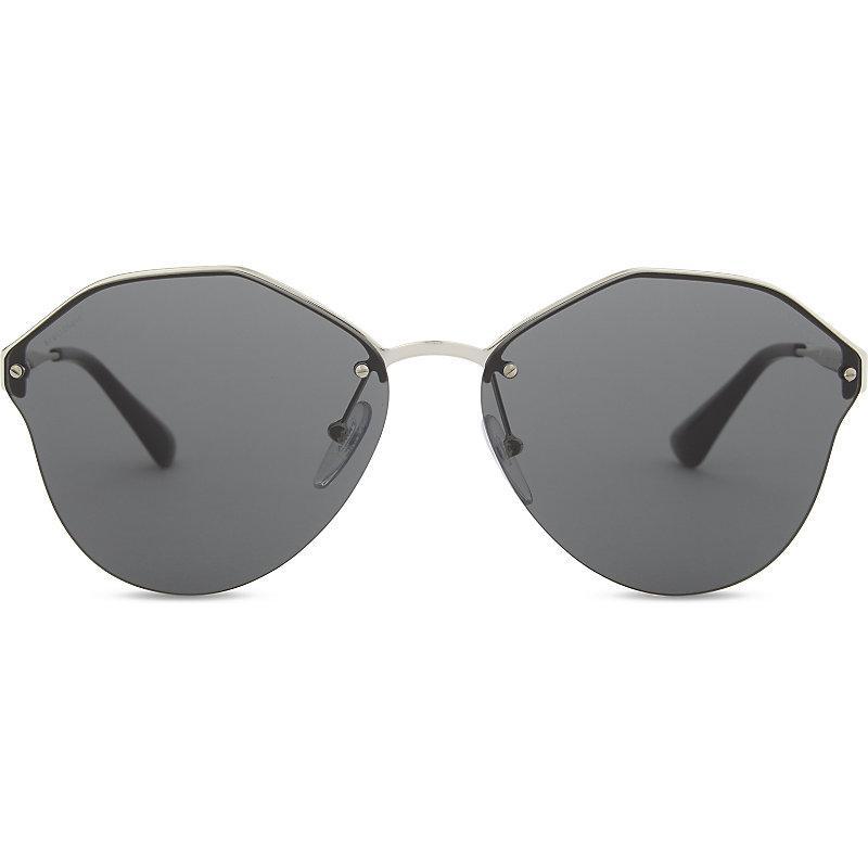 1c1a93c2952c Prada Pr64T Round-Frame Sunglasses In Silver