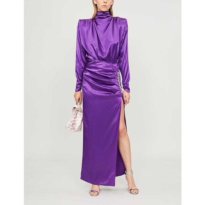 later special for shoe many styles Crystal-Embellished Silk-Satin Dress in Purple