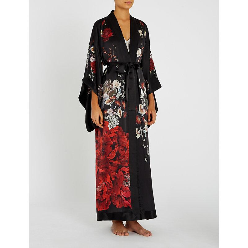 a4d73432f Meng Floral-Print Silk-Satin Kimono Robe In Black | ModeSens