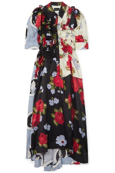 Simone Rocha Bow-Embellished Ruffled Printed Silk-Satin Midi Dress In Black