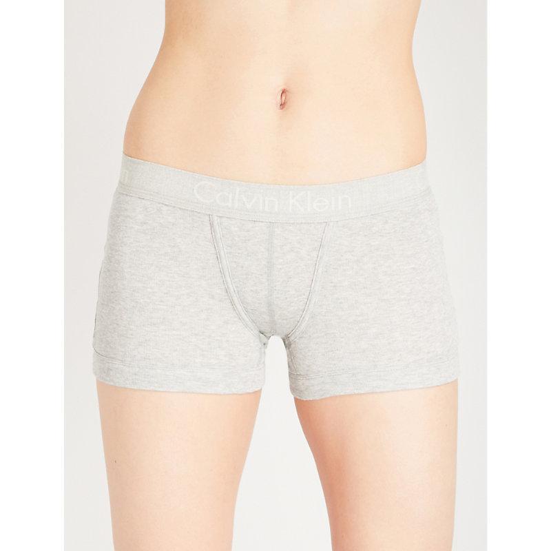 995794ebcc5 Calvin Klein Body Cotton-Jersey Boy Shorts In Grey Heather   ModeSens