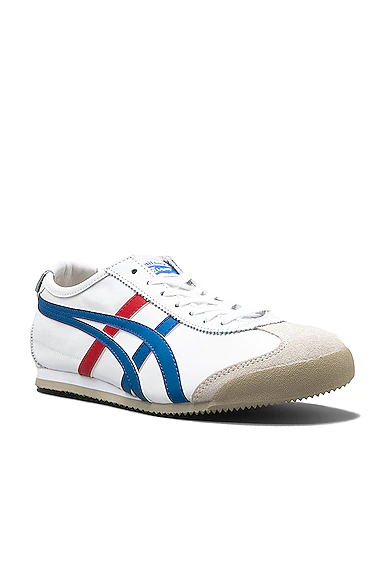 Onitsuka Tiger Mexico 66 Leather Trainers In White & Blue