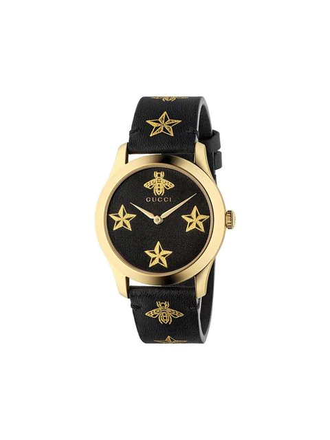 Gucci Ya1264055 G-Timeless Yellow Gold-Plated Stainless Steel And Leather Watch In Black