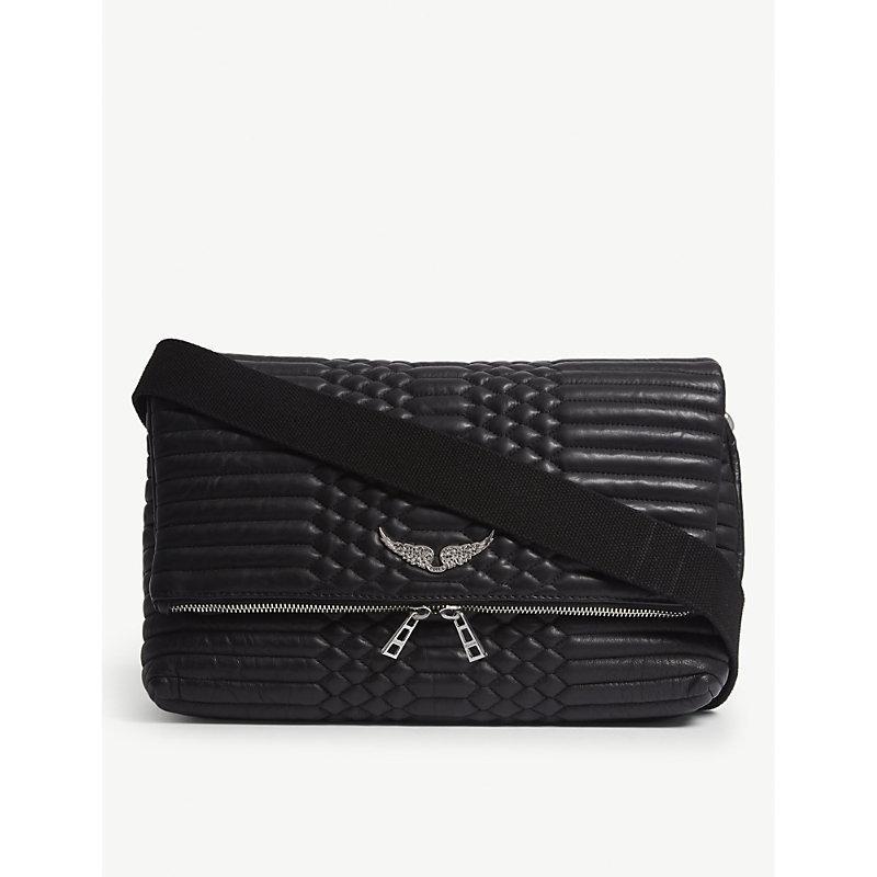39eb04644e Zadig   Voltaire Rocky Xl Matelasse Leather Shoulder Bag In Noir ...