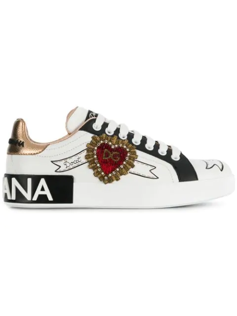 Dolce & Gabbana Portofino Sneakers In Printed Nappa Calfskin With Embroidery Patch In White