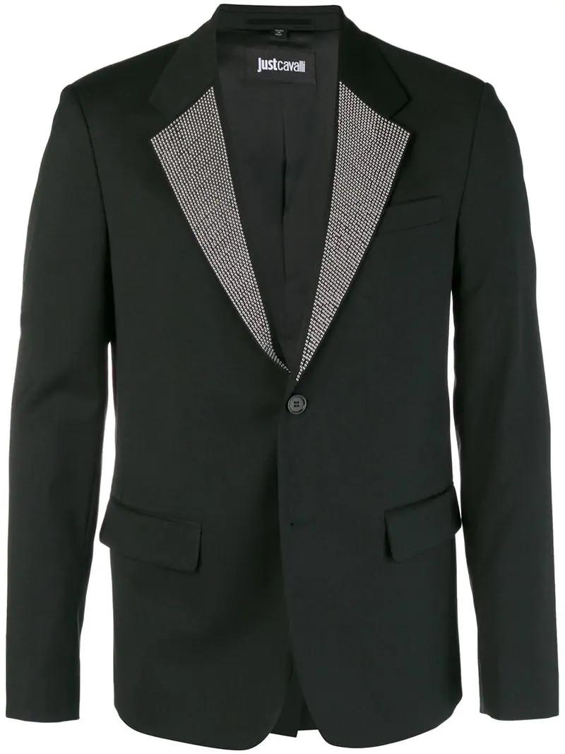 Just Cavalli Studded Lapel Blazer - Black