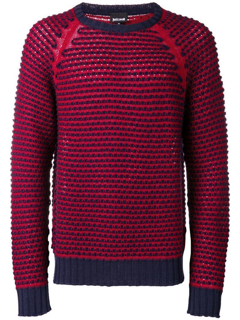 Just Cavalli Chunky Knit Raglan Sweater - Red