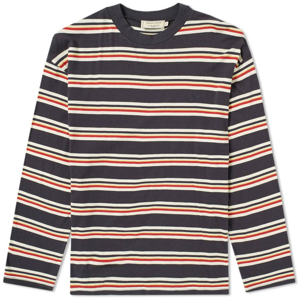 2a29c0ff96 Maison KitsunÉ Long Sleeve Stripe Tee In Blue | ModeSens
