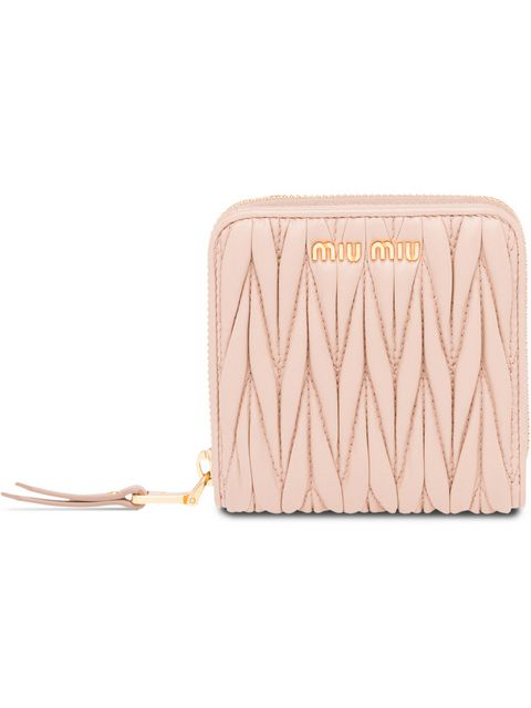 Miu Miu Matelassé Small Zip Around Wallet In Neutrals