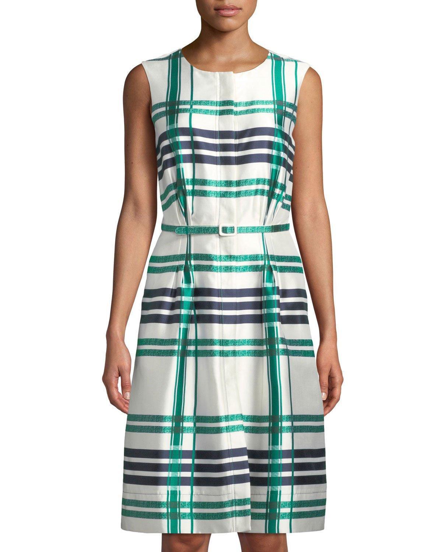 3d8c725b44 Oscar De La Renta Sleeveless Plaid Sateen Midi Dress