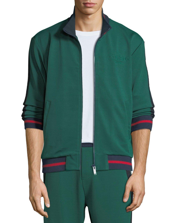 iceberg mens tape logo track jacket in green modesens