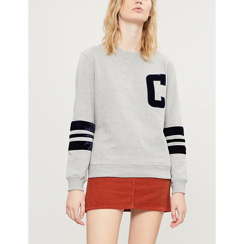 Claudie Pierlot Tadah Velvet-Trimmed Cotton-Blend Sweatshirt In Mottled Grey