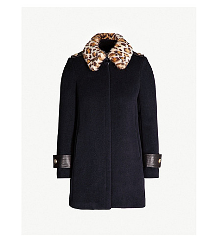Claudie Pierlot Gentleman Bis Fluffy-Collar Wool-Blend Coat In Marine