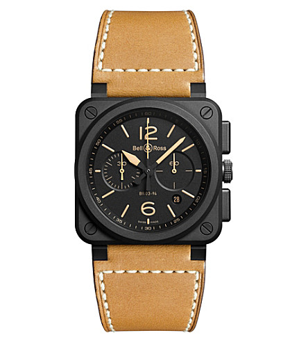 Bell & Ross Br 03-94 Heritage Ceramic Chronograph, 42mm In Black/tan