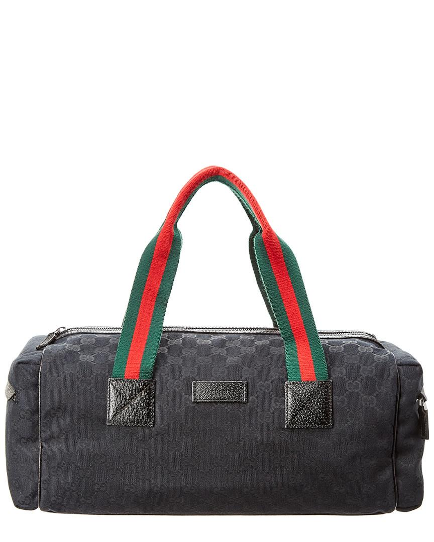 ce49406d6b017b Gucci Black Gg Supreme Canvas & Leather Duffle Bag In Nocolor | ModeSens