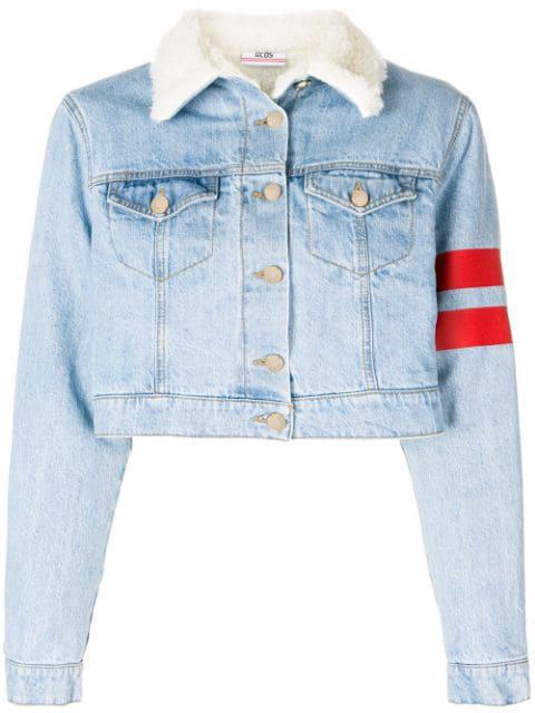 Gcds Cropped Stripe Detail Jacket - Blue