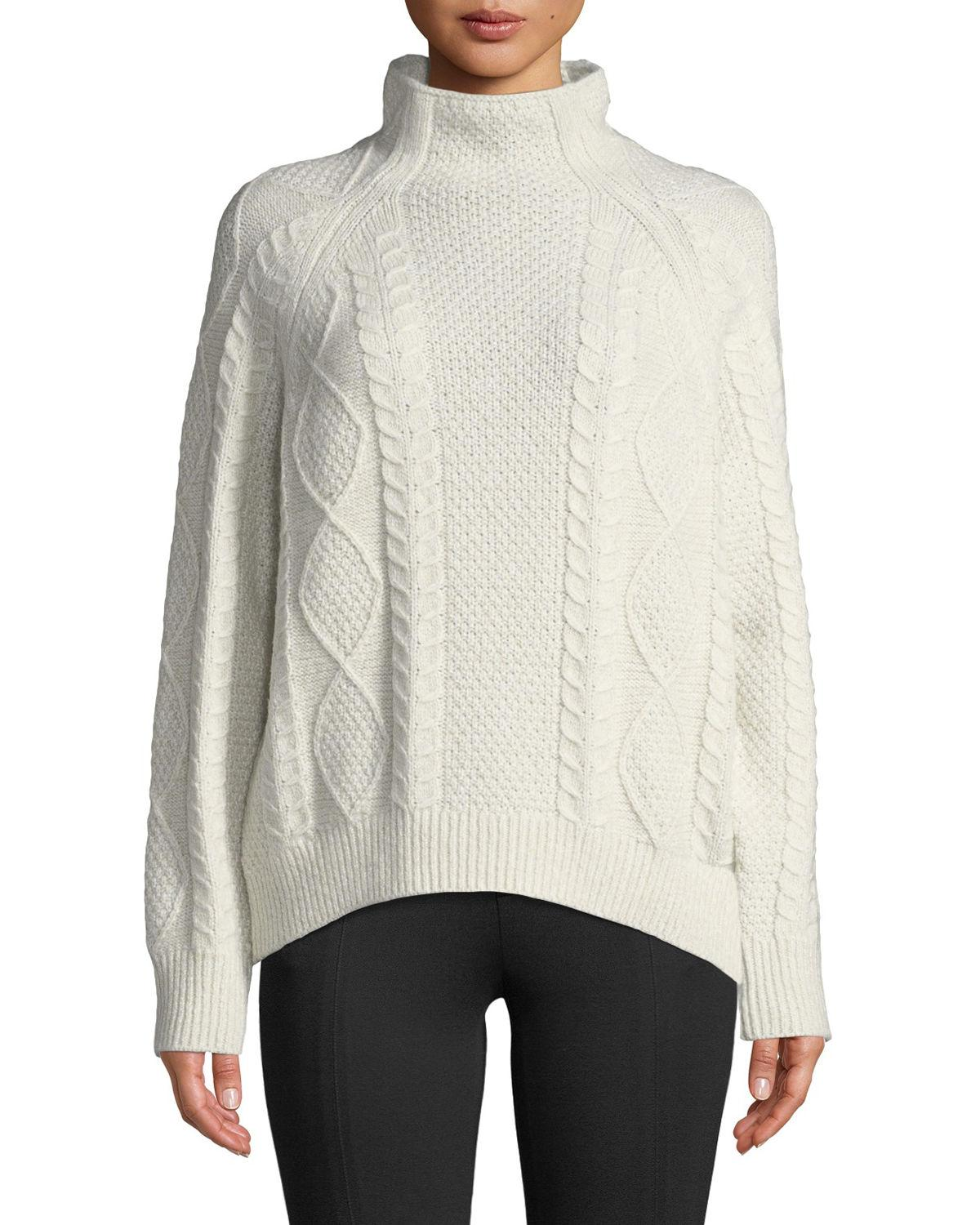 935c28d21967 Vince Oversized Cable-Knit Turtleneck Sweater In White | ModeSens